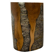 Round Cylinder End Side Table Night Stand Teak Wood Lucite Clear Rs11brclr-04