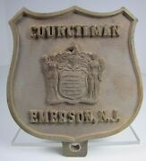 Old Councilman Emerson Nj Brass Plaque License Plate Car Auto Badge Sign Ad