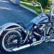 Dandd Fat Cat 2-into-1 Chrome Exhaust Full System Louvered Baffle Harley 1984-2017