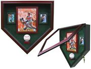1 Baseball, 8x10 Photo, 2 Cards Homeplate Shaped Display Case - Free Shipping