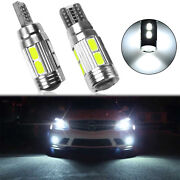 2 Hid White 10-smd Error Free Led Bulbs For Euro Car Parking Lights W5w T10