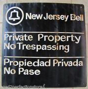 Old Porcelain New Jersey Bell Telephone Sign Private Property No Trespassing