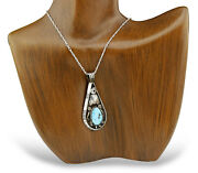 Old Navajo Artist Natural Turquoise .925 Solid Silver Handmade Pendant Necklace