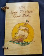 Rare Vintage Wood Cover Old New England Cookbook 1936
