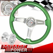 Adapter + Green Wood Silver Center Deep Dish Steering Wheel For 89-98 Maxima