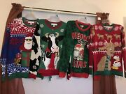 Nwt Mens Ugly Christmas Sweaters Cats Cows Santa Drink Pouch You Pick