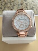 Parker Chronograph Crystals Pearl Rose Gold Women's Watch Mk5491
