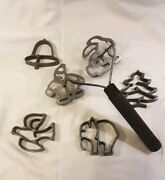 Nordic Ware 6 Cookie Cutters With Wooden Handle Rare Bird Christmastree Bell