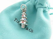 And Co Silver Red Blue Enamel Christmas Tree Charm 4 Necklace Bracelet