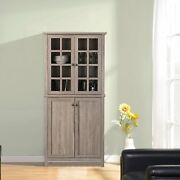 Rustic Wooden Kitchen China Cabinet Storage Organizer Laundry Room Glass Doors