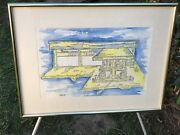 Colleller Original 1988 Modern Abstract The Gas Station Vintage Watercolor Art