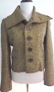 Collection Hand Knit Gold Metallic Tweed Jacket Size 12