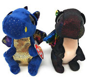 Set Of 2 Ty 6 Beanie Boos Anora And Saffire The Dragon Plush W/ Mwmt's Heart Tags