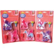 1 Pegagus Winged Horse And Brush 4 Piece Playset Toy Figure Kid Party Favors