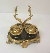 19th C. French Chinoiserie Coromandel Lacquer And Gilt Bronze Inkstand Inkwell