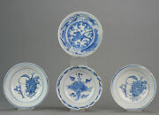Lot Of 4 Chinese 16/17th Porcelain Ming China Bowls Horse And Valuables[z...