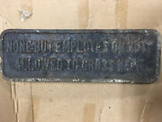 Rare Antique Cast Iron Two Sided Embossed Crossing Sign - Railroad