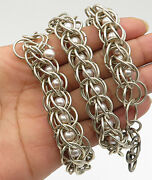 925 Sterling Silver- Vintage Heavy Orbit Caged Pearl Bead Chain Necklace - N1808