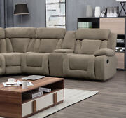 Large Sectional Sofa Set Tan Fabric Console Cup Holder Comfort Couch Living Room
