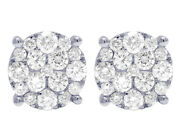 Menand039s Ladies Real Diamond Round Studs Earrings In 10k White Gold 2 1/10 Ct 11mm