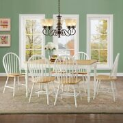 Farmhouse Kitchen 7 Pc Dining Set Table Chair Antique Solid Wood White Natural