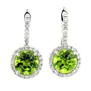 4900 3.76 Ct White Gold Antique Design Peridot And Diamond Hanging Earring 18 Kt