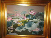 Tapestry Hand Stitched Embroidered Water Lily 2000-noworiginal Unsigned