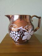 Stoke On Trent England Gray's Grays Pottery 5 Copper Luster Grapevine Pitcher