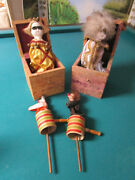 Antique Toys Jack In The Box Harlequin And White Clown Andndash Push Ups Clowns-pick 1