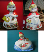 Hull Little Red Riding Hood Cookie Jar Roses Or Poppies Original Butter Dish