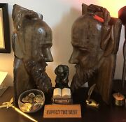 """Wood Tree Carved Viking And Odin God Faces Bookends Rare One Of A Kind 1' 7"""""""