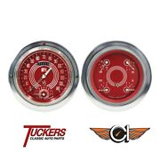 1954-55 Chevy 3100 Pu Tach Gauges Classic Instruments Ct54v8rs62, V8 Red Steelie