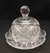 American Brilliant Large Hobstar And Cane Domed Butter Dish - Antique Cut Glass