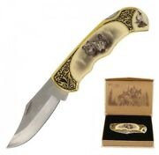 Folding Knife | 3.4 Blade Collectible Wolf Manual Folder + Wooden Display Box