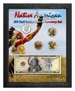 Native American Indian Chief Colorized Coin And Currency Set In 8 X 10 Frame - V