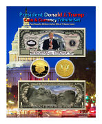 Trump Million Dollar Gold Novelty Coinandcurrency Set On An 8x10 Display Card