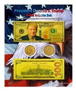 Trump 100 Gold Tribute Coin And Currency Set On An 8 X 10 Display Card