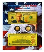 Trump 100 Goldandruthenium Tribute Coin And Currency Set On 8 X 10 Display Card