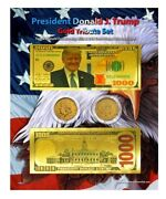 Trump 1,000 Gold Tribute Coin And Currency Set On An 8 X 10 Display Card