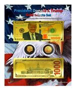 Trump 1,000 Goldandruthenium Tribute Coin And Currency Set On 8 X 10 Display Card
