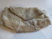 Antique Vintage Small White Beaded Evening Clutch Purse