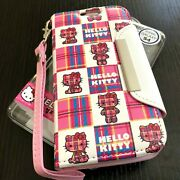 For Samsung Galaxy S4 - Pink Plaid Hello Kitty Leather Wallet Pouch Case Cover