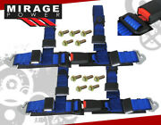 2 Pair Blue 4 Point Harness Racing Seat Belt Snap On Off Latch Safety Buckle