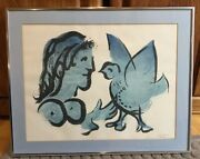 Marc Chagall Lithograph. Rare Signed Numbered Edition Print Of Woman And Dove