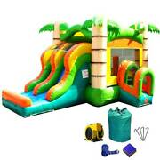 Commercial Bounce House Combo Inflatable Slide With Blower Tropical Bouncy Slide