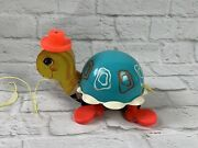 Fisher Price 773 Turtle Pull Toy Wooden Wheels Made In Usa 1962