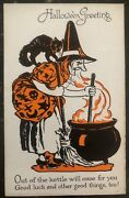 Mint Vintage Usa Picture Postcard Ppc Halloween Out Of Kettle Will Come For You