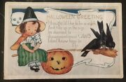 Mint Vintage Usa Picture Postcard Ppc Cover Halloween Greetings Pumpkin