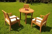 4pc Grade-a Teak Dining Set 36 Round Table 3 Lagos Arm Chair Outdoor Patio