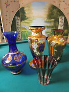 Czech Bohemian Crystal Gold And Raised Flowers Red To Cut Vases Pick 1
